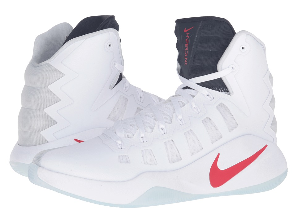 Nike - Hyperdunk 2016 (White/Bright Crimson/Dark Obsidian) Men's Basketball Shoes