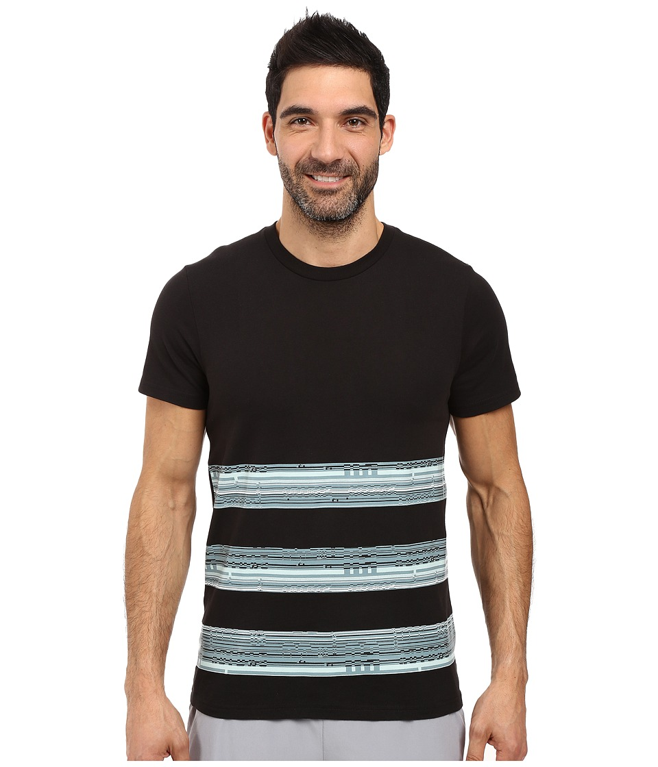 adidas - Bold Stripe Glitch Tee (Black/Vapour Steel/Vapour Green) Men's T Shirt