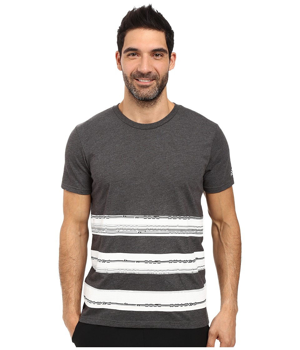 adidas - Bold Stripe Glitch Tee (Dark Grey Heather/White/Crystal White) Men's T Shirt