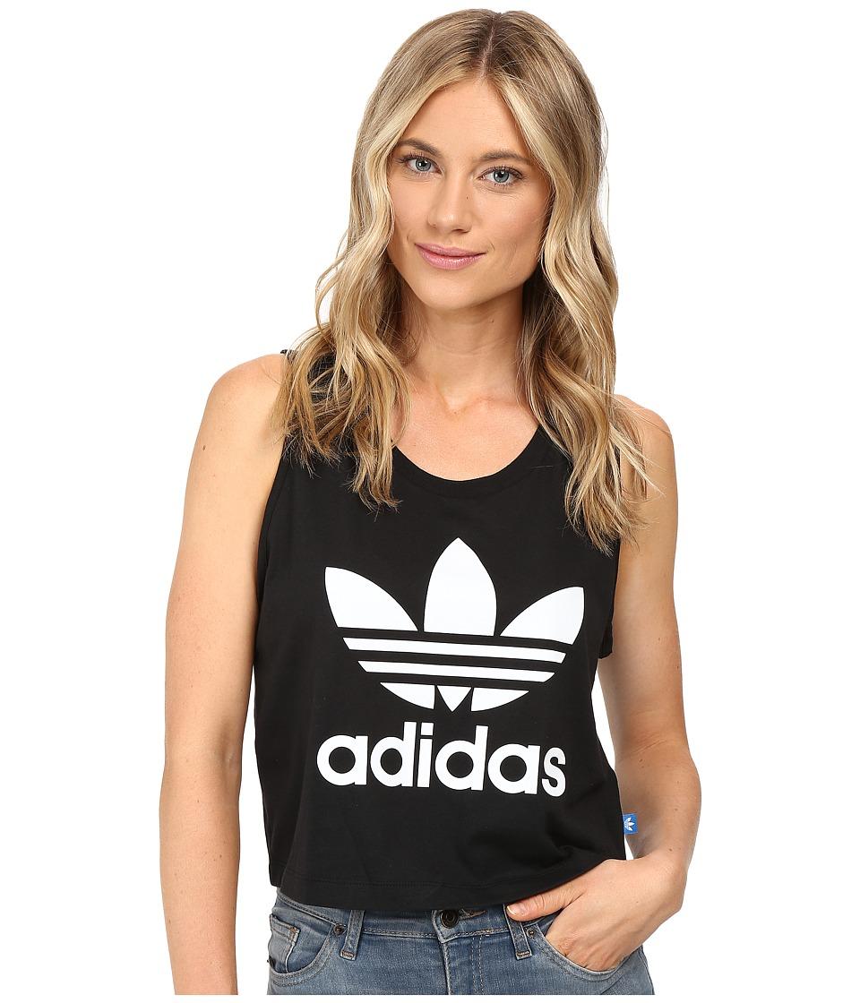 adidas Originals - Loose Crop Tank Top (Black/White) Women's Sleeveless