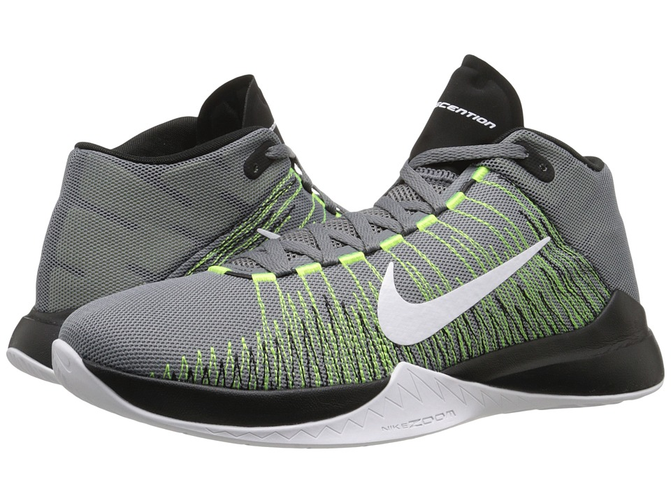 Nike - Zoom Ascention (Cool Grey/Volt/Black/White) Men's Basketball Shoes