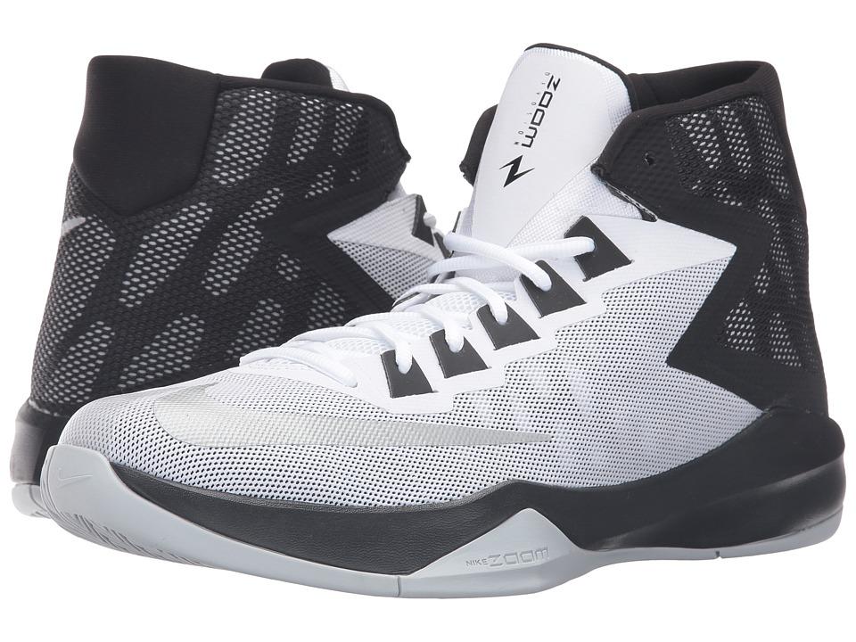 Nike - Zoom Devosion (White/Black/Metallic Silver) Men's Basketball Shoes