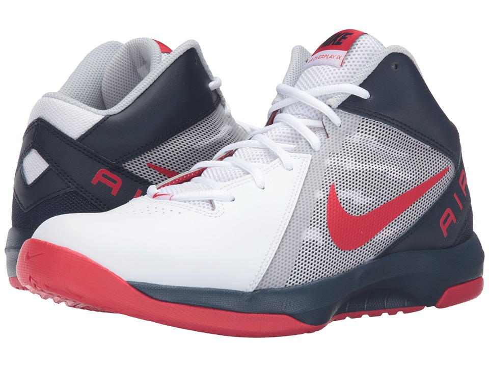 Nike - The Air Overplay IX (White/Obsidian/Pure Platinum/University Red) Men's Basketball Shoes
