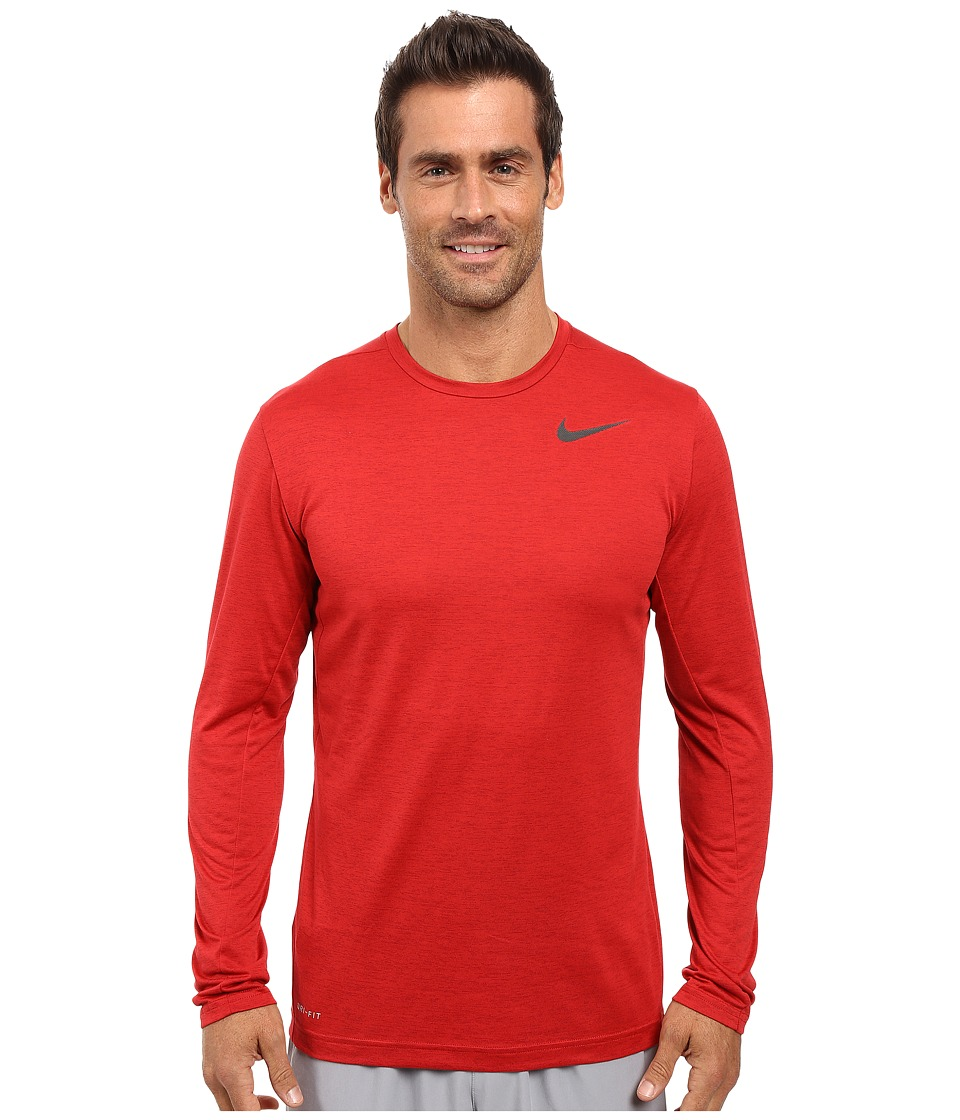 Nike Dri-FITtm Training Long Sleeve Shirt (Night Maroon/Gym Red/Black) Men