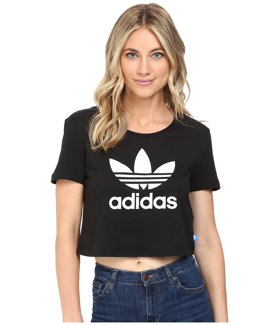 adidas Originals - Slim Crop Tee (Black/White) Women's T Shirt