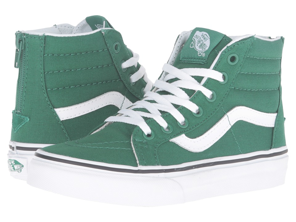 Vans Kids - Sk8-Hi Zip (Little Kid/Big Kid) ((Varsity) Green/True White) Kids Shoes