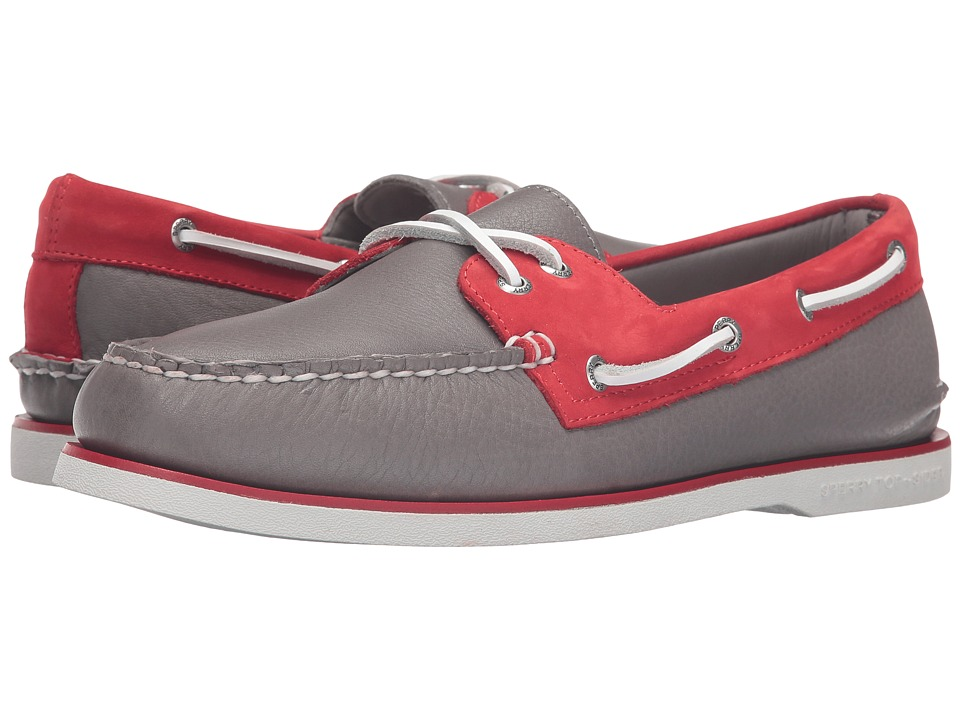 Sperry - Gold A/O 2-Eye Two-Tone (Grey/Red) Men's Moccasin Shoes