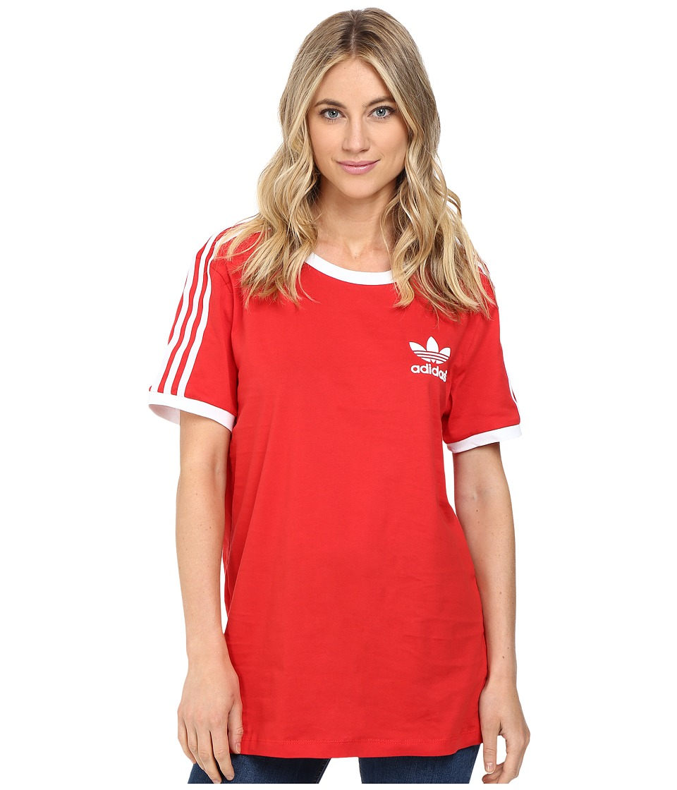 adidas Originals - 3-Stripes Tee (Vivid Red/White) Women's Short Sleeve Pullover