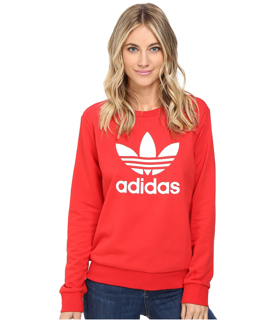 adidas Originals - Crew Sweater (Vivid Red/White) Women's Sweater