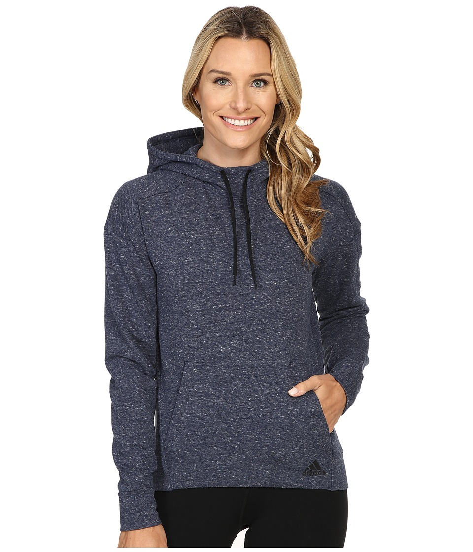 adidas - Cotton Fleece Hoodie (Pepper Collegiate Navy Melange) Women's Sweatshirt