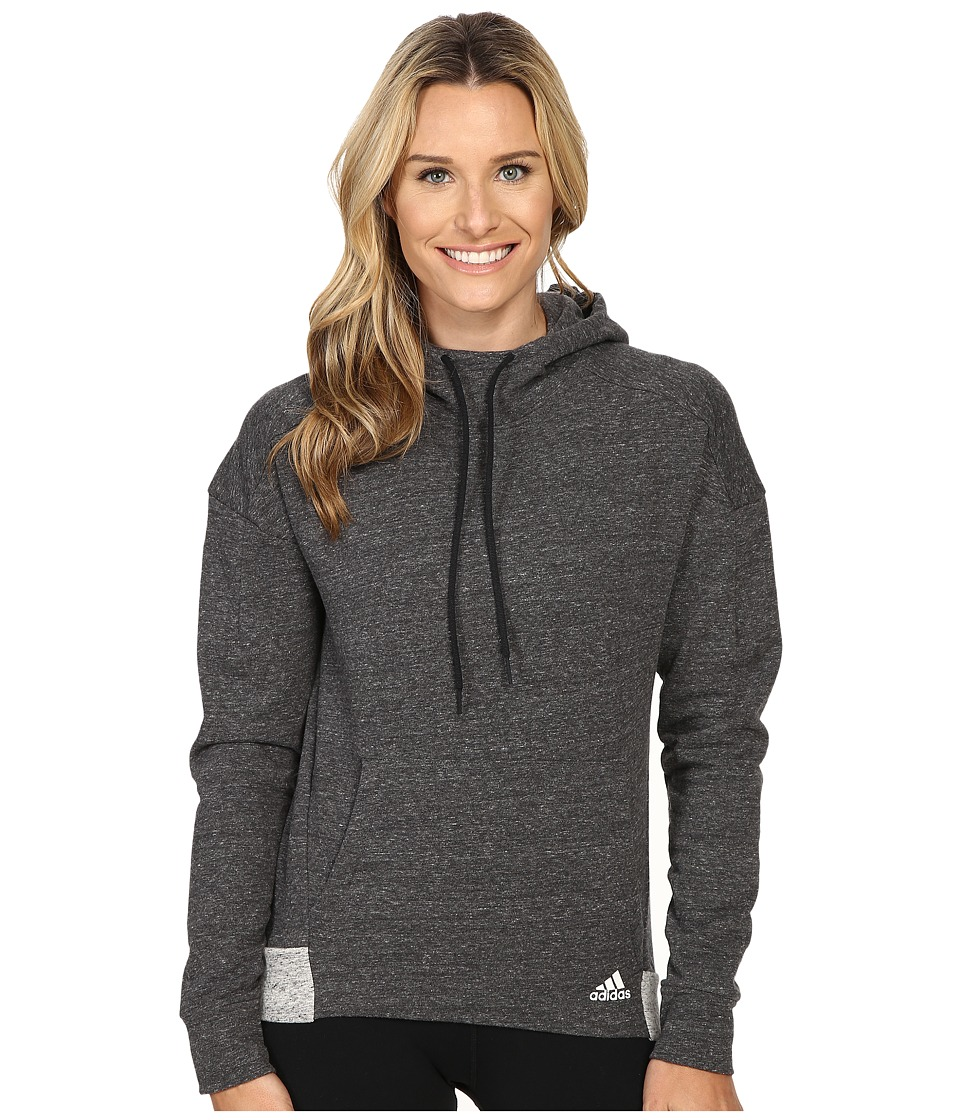 adidas - Cotton Fleece Hoodie (Pepper Black Melange) Women's Sweatshirt