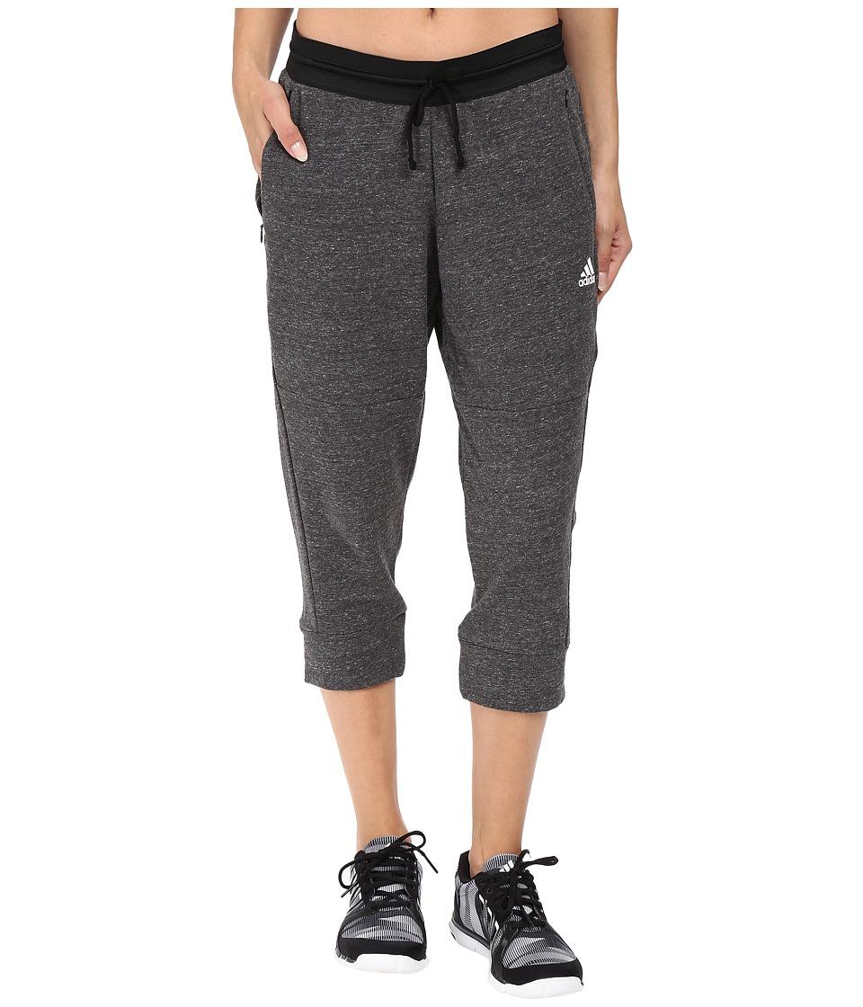adidas - Cotton Fleece 3/4 Pants (Pepper Black Melange) Women's Workout