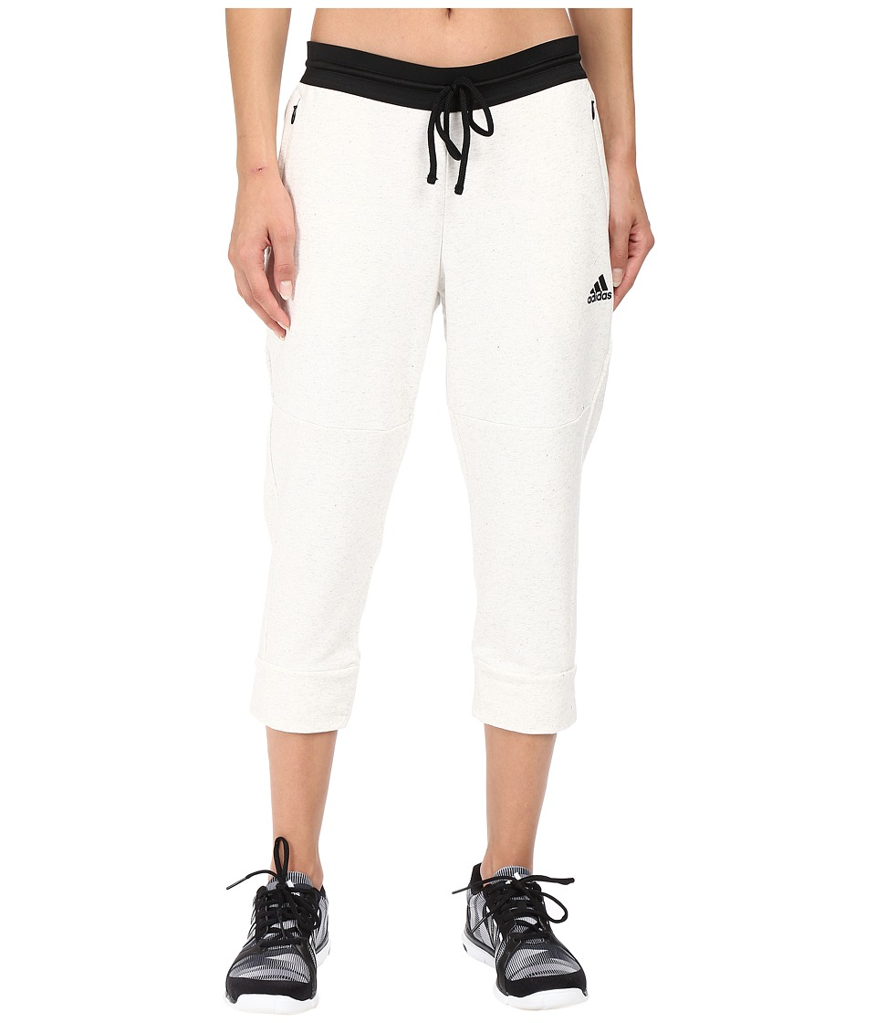 adidas - Cotton Fleece 3/4 Pants (Pepper White Melange) Women's Workout
