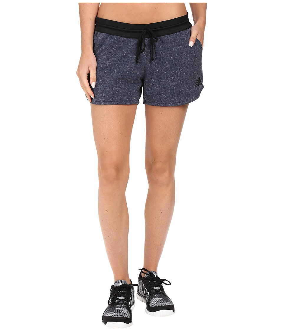 adidas - Cotton Fleece Shorts (Pepper Collegiate Navy Melange) Women's Shorts