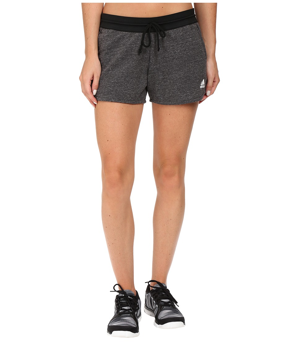 adidas - Cotton Fleece Shorts (Pepper Black Melange) Women's Shorts