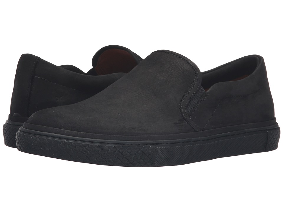 Frye Gates Slip-On (Black Soft Nubuck) Men