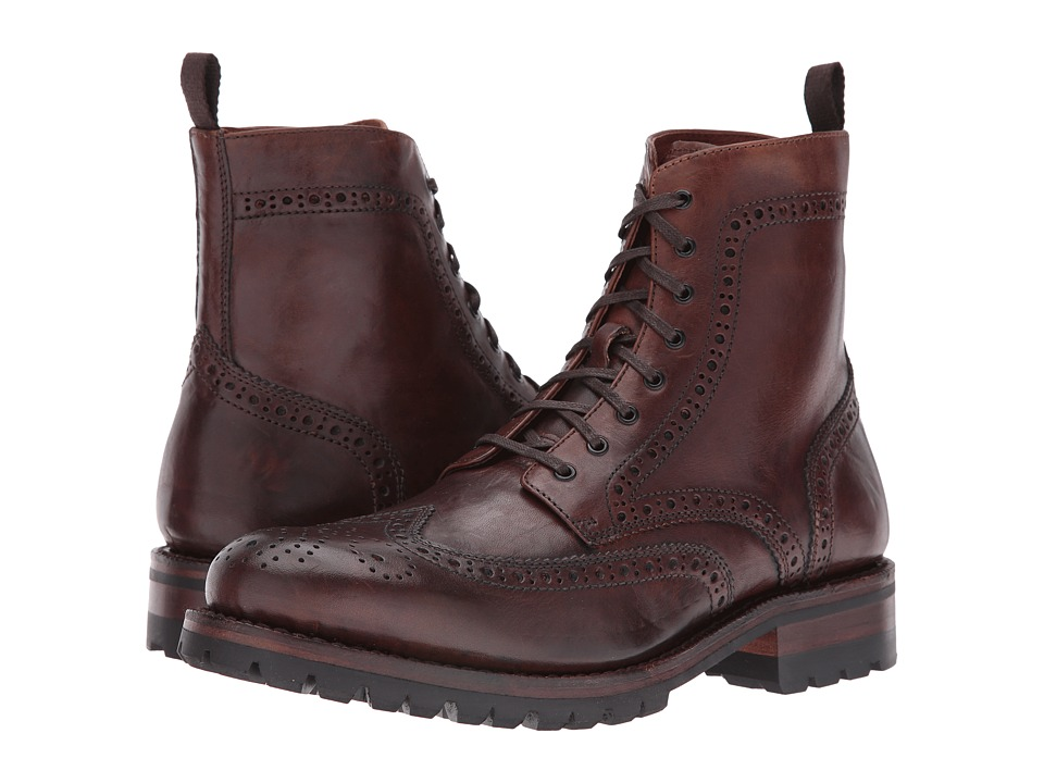 Frye - George Lug Brogue Lace-Up (Cognac Vintage Pull-Up) Men's Boots