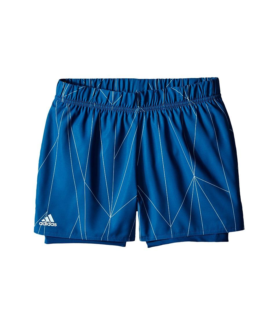 adidas Kids - Club Printed Shorts (Little Kids/Big Kids) (Tech Steel/White) Girl's Shorts