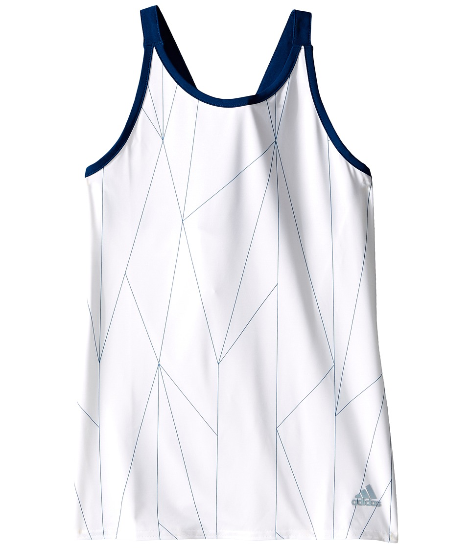 adidas Kids - Club Printed Tank Top (Little Kids/Big Kids) (White/Tech Steel) Girl's Sleeveless
