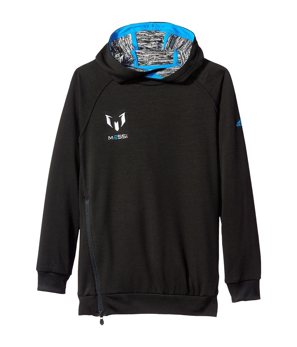 adidas Kids - Messi Hoodie (Little Kids/Big Kids) (Black/White/Shock Blue) Kid's Sweatshirt