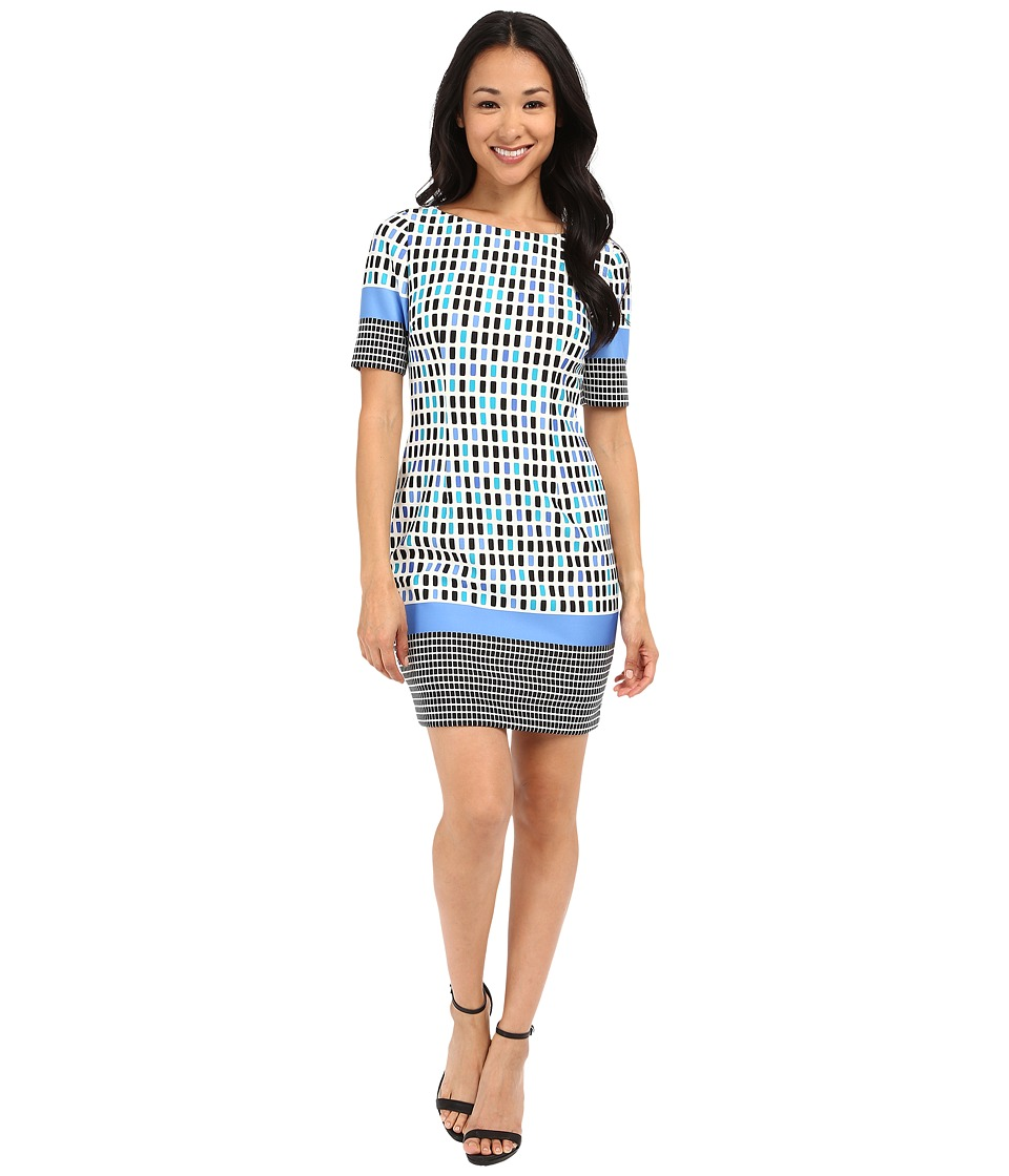 Tahari by ASL Petite - Petite Printed Scuba Elbow Sleeve Dress (Ivory/Blue/White) Women's Dress