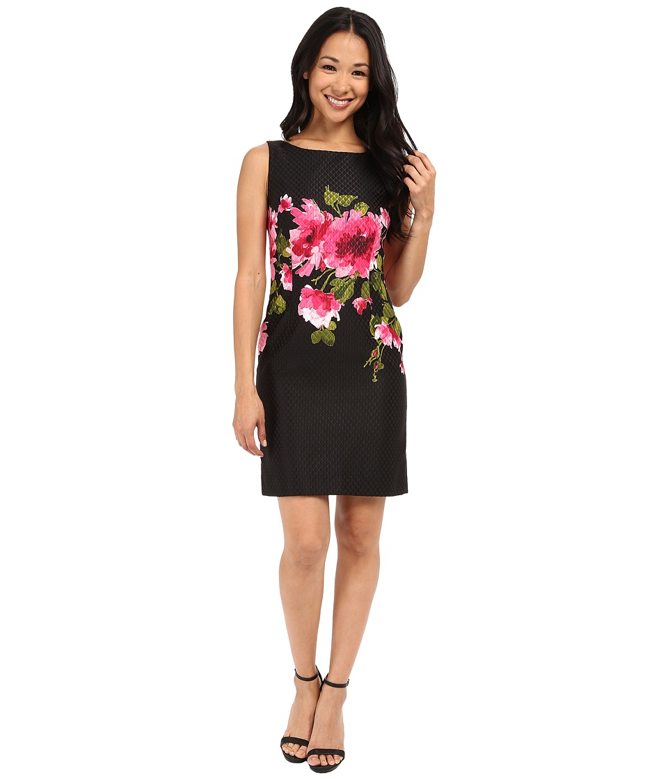 Tahari by ASL Petite - Petite Floral Printed Jacquard Dress (Black/Fuchsia) Women's Dress