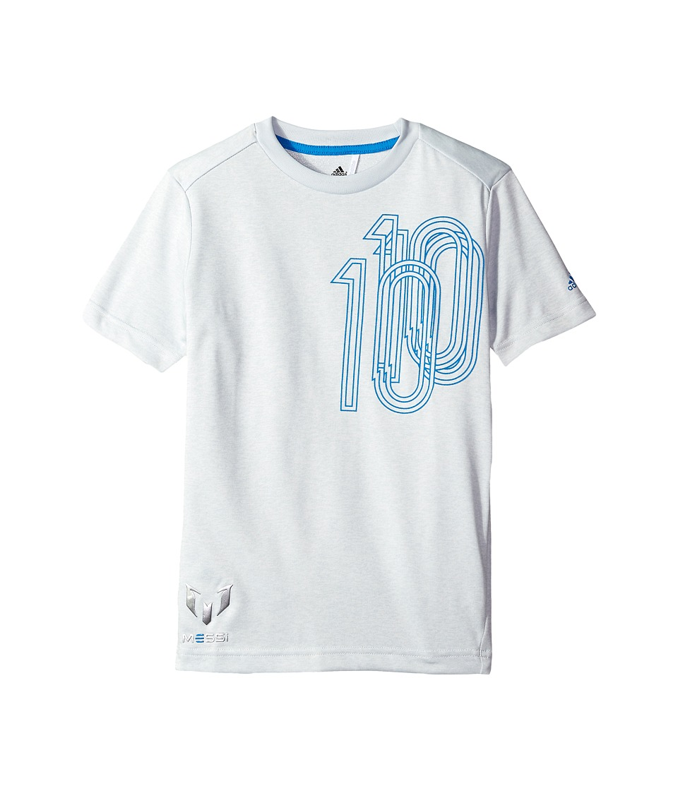 adidas Kids - Messi Icon Tee (Little Kids/Big Kids) (Clear Grey/Shock Blue) Kid's T Shirt
