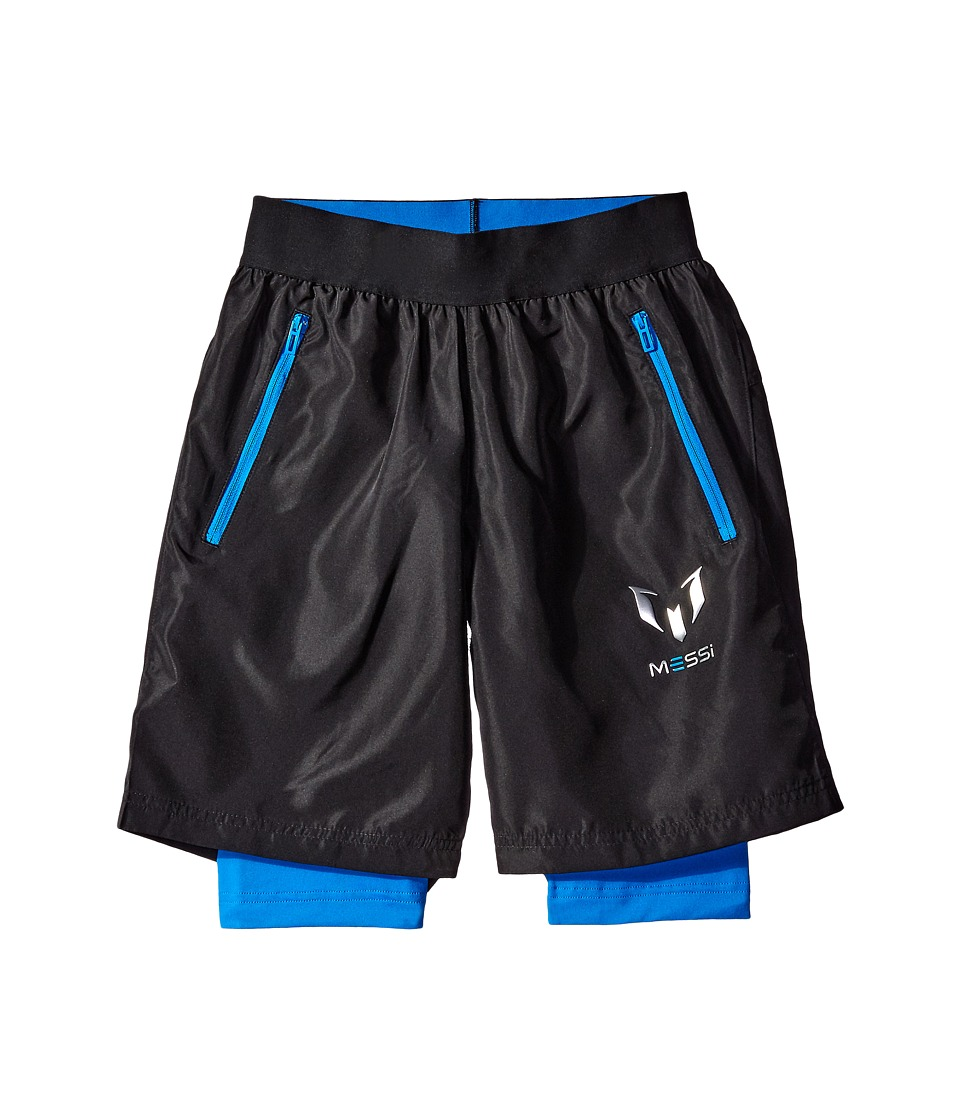 adidas Kids - Messi Woven Shorts (Little Kids/Big Kids) (Black/Shock Blue) Kid's Shorts