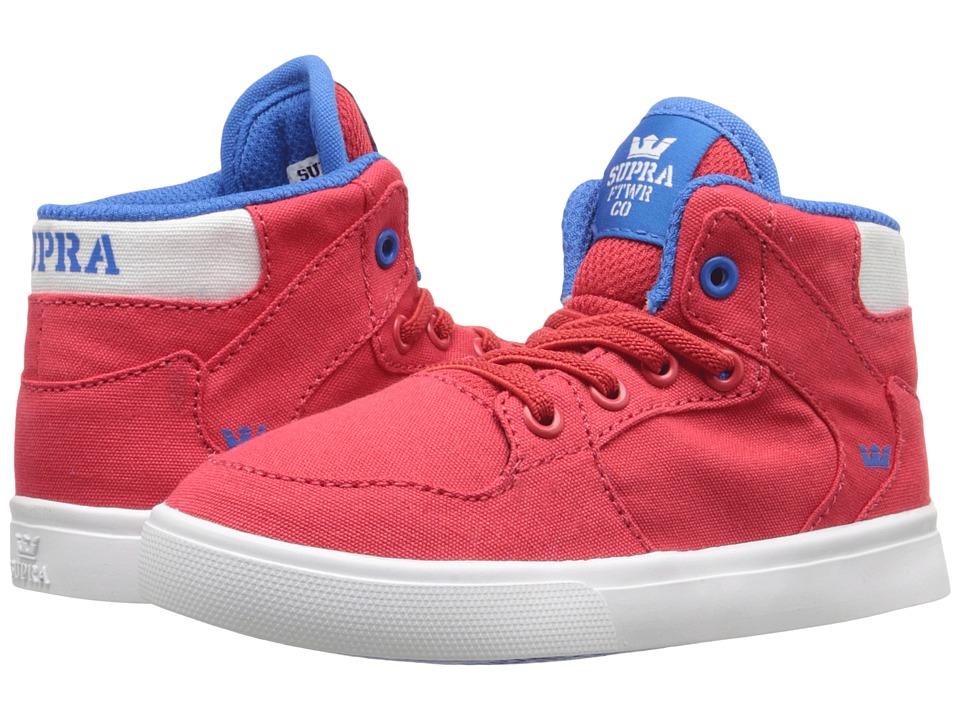 Supra Kids - Vaider (Toddler) (Red/Royal Canvas) Boy's Shoes