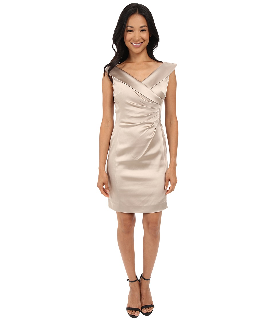 Tahari by ASL Petite - Petite Stretch Satin Side Rouched Portrait Collar Dress (Champagne) Women's Dress
