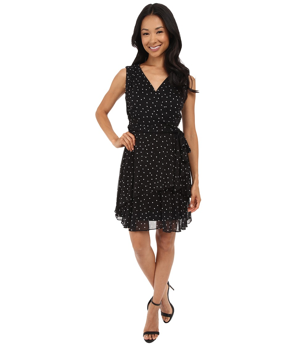Tahari by ASL Petite - Petite Chiffon Pin Dot Tiered Dress (Black/White) Women