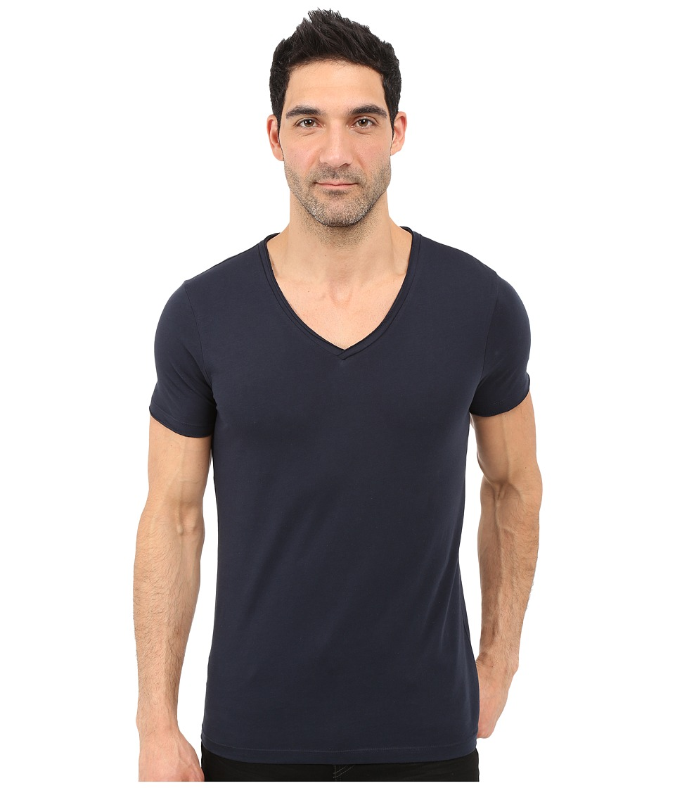 BOSS Orange - Tooley Jersey T-Shirt Short Sleeve V-Neck (Dark Blue) Men's T Shirt