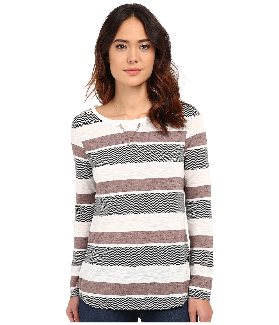 Dylan by True Grit - Peruvian Stripe Long Sleeve Tee (Cocoa) Women's T Shirt