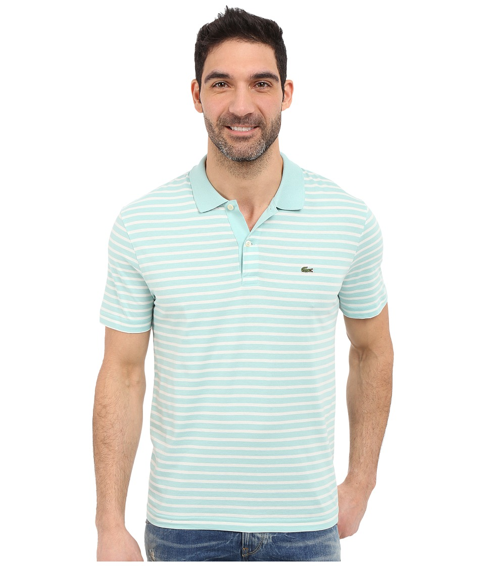 Lacoste - Classic Short Sleeve Jersey Stripe (Galapagos/Flour) Men's Clothing