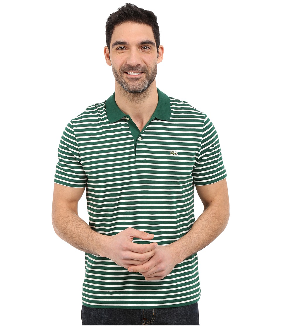 Lacoste - Classic Short Sleeve Jersey Stripe (Pine Wood/Flour) Men's Clothing