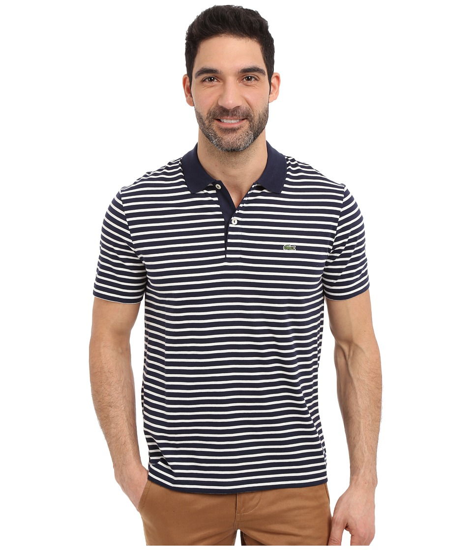 Lacoste - Classic Short Sleeve Jersey Stripe (Navy Blue/Flour) Men's Clothing