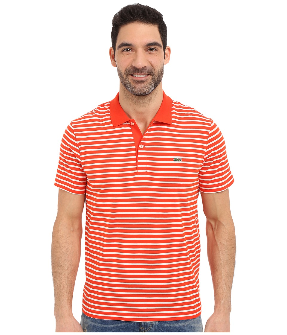 Lacoste - Classic Short Sleeve Jersey Stripe (Etna Red/Flour) Men's Clothing