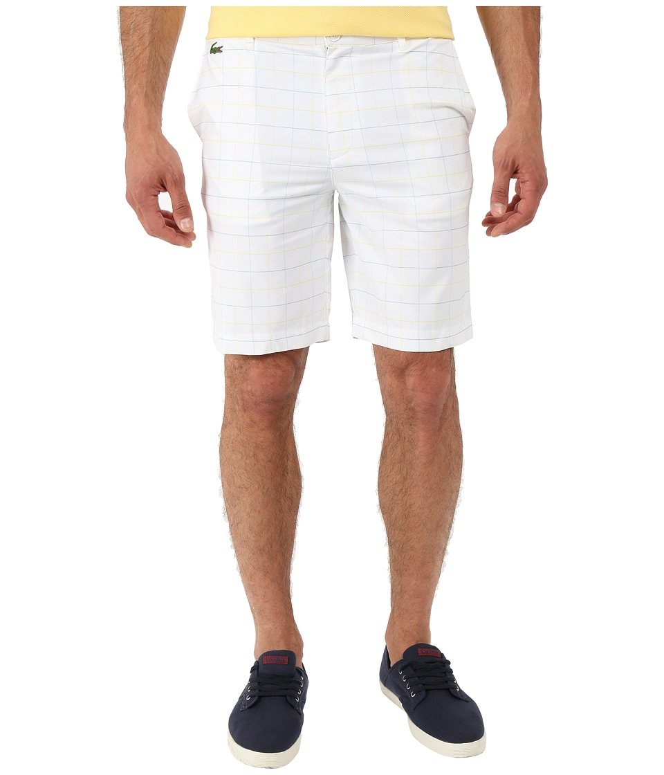 Lacoste - SPORT Ultra Dry Stretch Gabardine Golf Bermuda Short (White/Dream Blue/Swarm Yellow) Men's Shorts