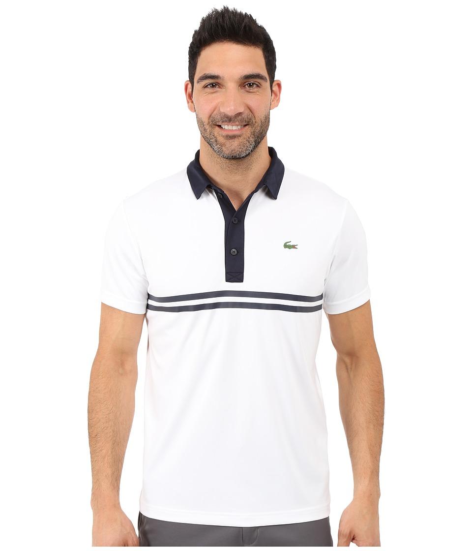Lacoste - Golf Short Sleeve Ultra Dry Chest Stripe (White/Navy Blue) Men's Clothing
