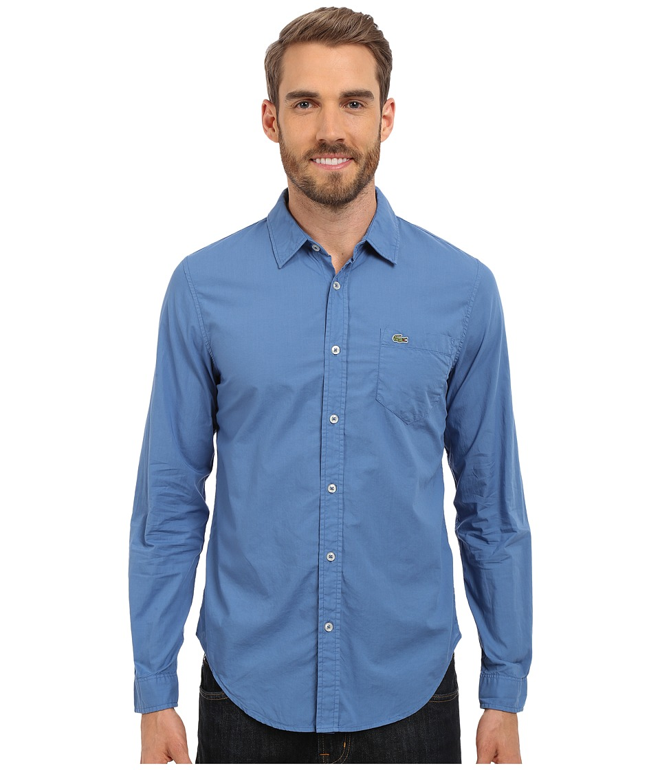 Lacoste - Poplin Cotton Slim Fit Shirt (Wave Blue Dyed) Men's Clothing