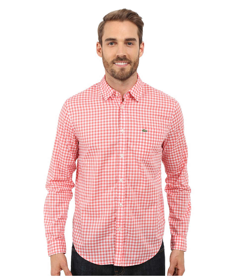 Lacoste - Cotton Voile Check Print Shirt (White/Sandalwood) Men's Clothing
