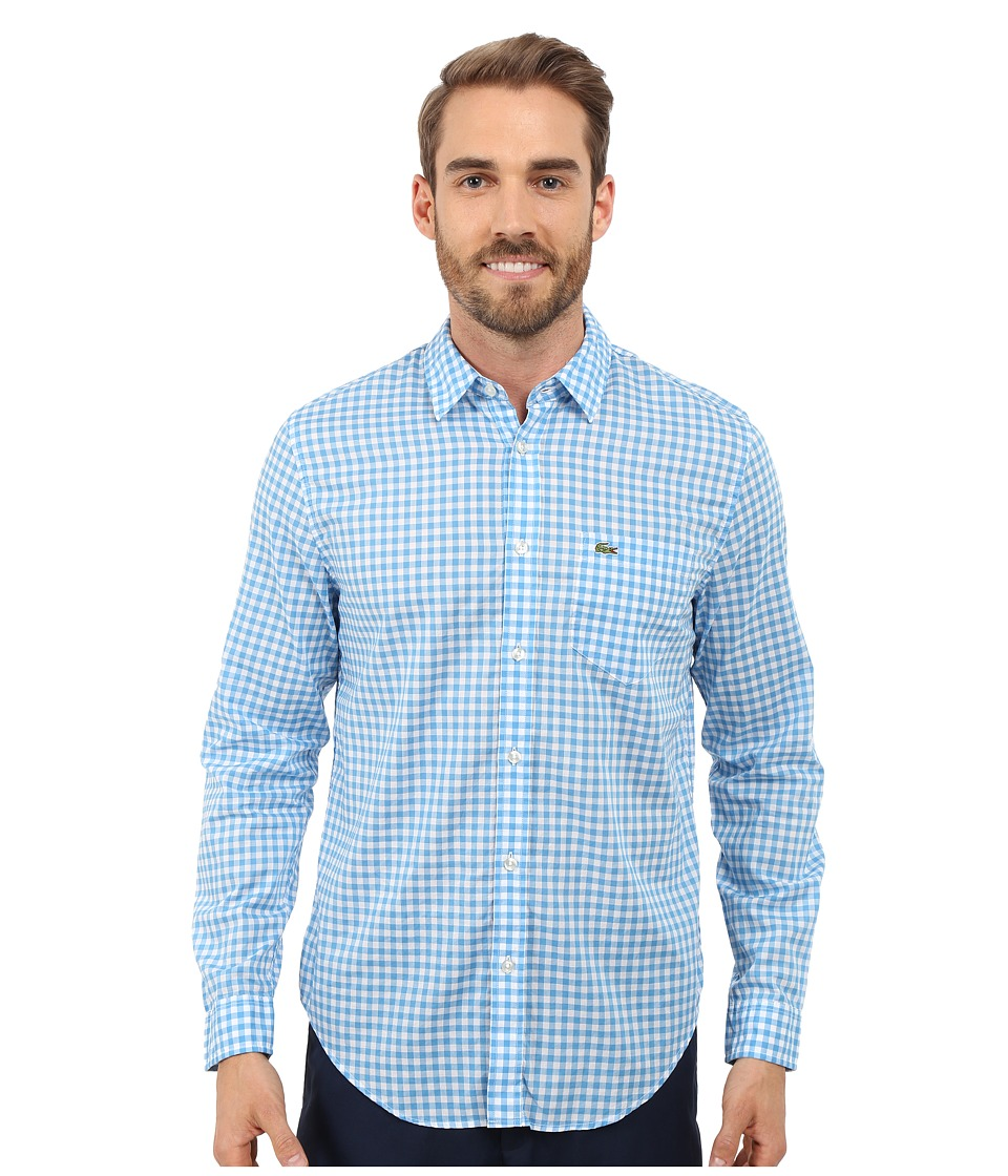 Lacoste - Cotton Voile Check Print Shirt (White/Spa Blue) Men's Clothing