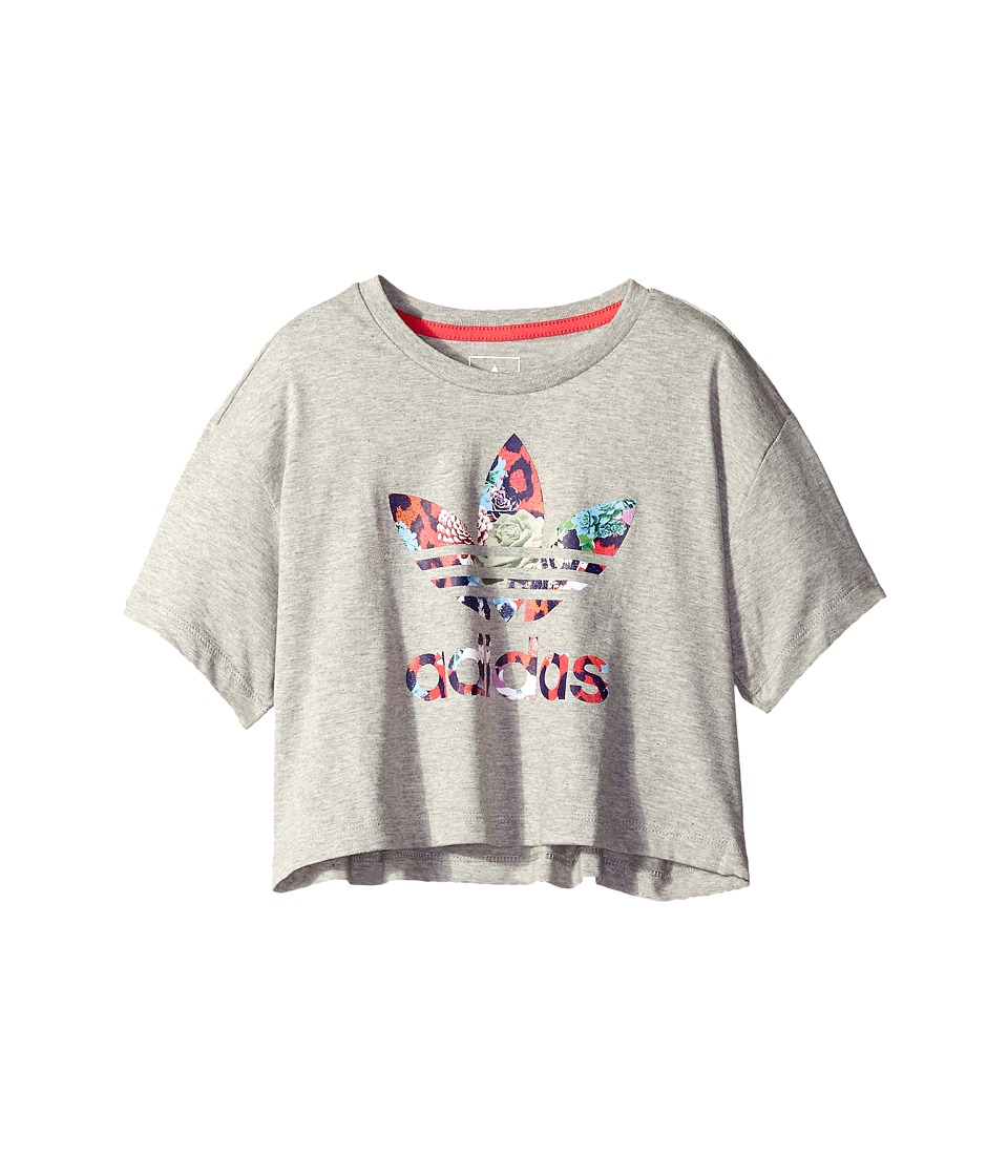adidas Originals Kids - Everyday Iconics Rose Tee (Little Kids/Big Kids) (Medium Grey Heather/Multicolor/Fresh Pink) Girl's T Shirt