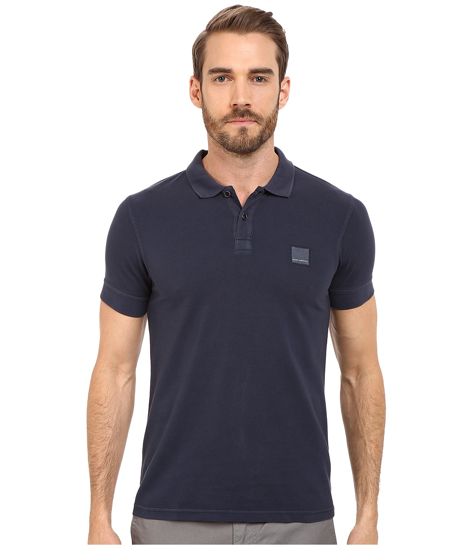 BOSS Orange - Pascha Slim Fit Saltwash Piquet Polo (Dark Blue) Men's Short Sleeve Pullover
