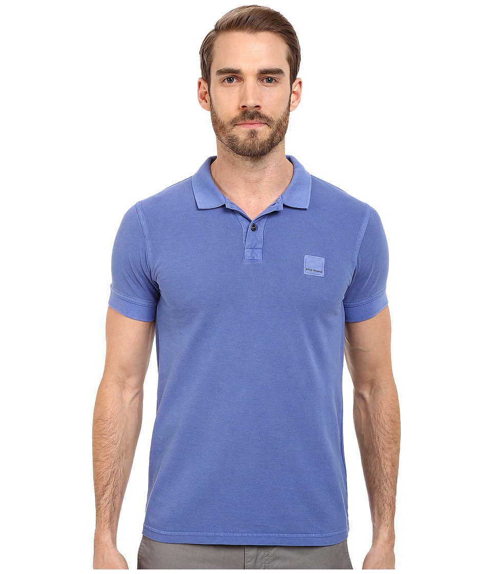 BOSS Orange - Pascha Slim Fit Saltwash Piquet Polo (Medium Blue) Men's Short Sleeve Pullover