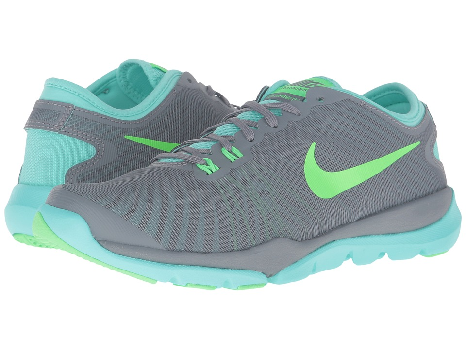 Nike - Flex Supreme TR4 (Cool Grey/Hyper Turquoise/Rage Green) Women's Cross Training Shoes