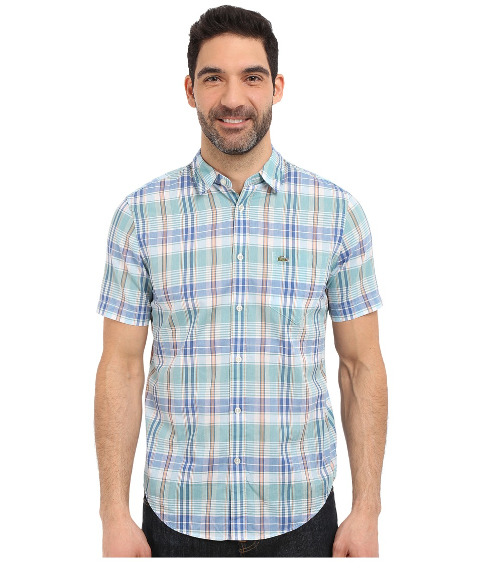 Lacoste - Segment 1 Short Sleeve Poplin Check Regular Fit (Maya Blue/Wave Blue/Filament Orange) Men's Clothing
