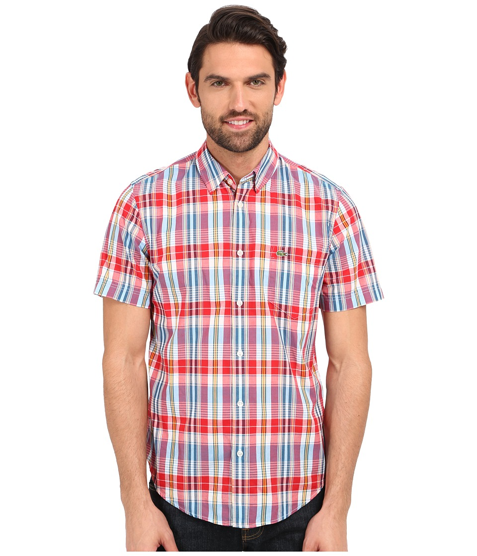 Lacoste - Segment 1 Short Sleeve Poplin Check Regular Fit (Cherry Red/Philippines Blue/Buttercup) Men's Clothing