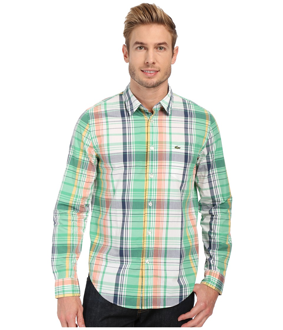 Lacoste - Poplin Colorful Check Print Shirt (Mentholine Green/Philippines Blue/Multico) Men's Clothing