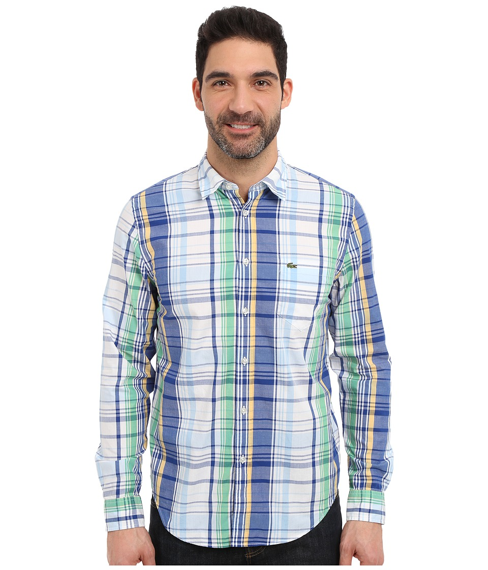 Lacoste - Poplin Colorful Check Print Shirt (Captain/Lagoon/Multico) Men's Clothing